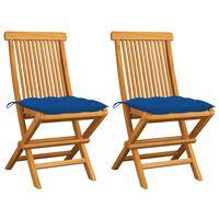 vidaXL Gartenstühle mit Blauen Kissen 2 Stk. Massivholz Teak