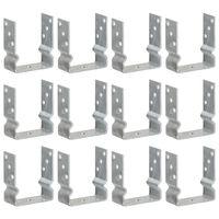 vidaXL Pfostenträger 12 Stk. Silbern 12×6×15 cm Verzinkter Stahl