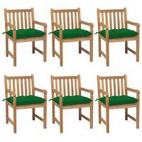 vidaXL Gartenstühle 6 Stk. mit Grünen Kissen Massivholz Teak