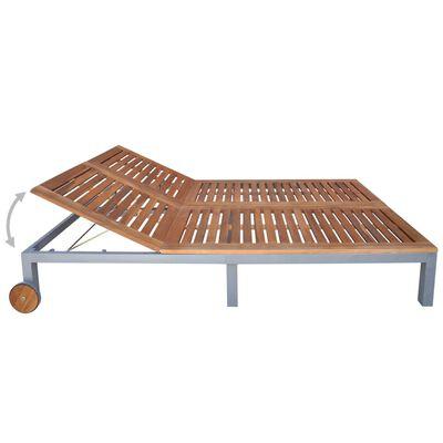 vidaXL 2-Personen-Sonnenliege mit Auflage Akazie Massivholz Stahl