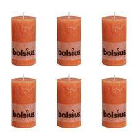 Bolsius Stumpenkerze Kerzen 130 x 68 mm Orange 6 tlg.