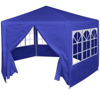 vidaXL Festzelt mit 6 Seitenwänden Blau 2x2 m