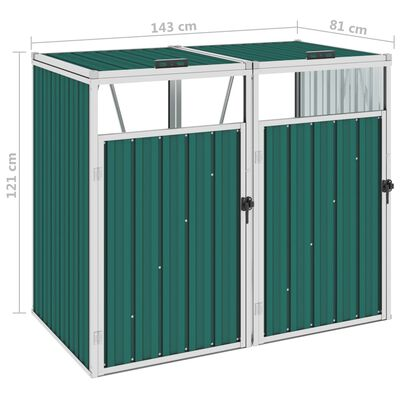 vidaXL Mülltonnenbox für 2 Mülltonnen Grün 143×81×121 cm Stahl