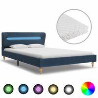 vidaXL Bett mit LED und Matratze Blau Stoff 120 x 200 cm