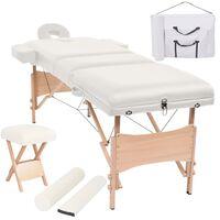 vidaXL Massageliege 3 Zonen Klappbar mit Hocker 10 cm Polsterung Weiß