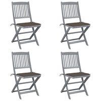 vidaXL Klappbare Gartenstühle 4 Stk. mit Kissen Massivholz Akazie