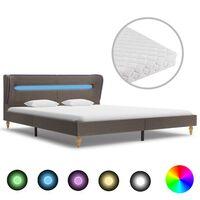 vidaXL Bett mit LED und Matratze Taupe Stoff 160×200 cm