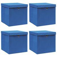 vidaXL Aufbewahrungsboxen mit Deckel 4 Stk. Blau 32×32×32 cm Stoff