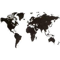 MiMi Innovations Weltkarte-Wanddeko aus Holz Luxury Schwarz 180×108 cm