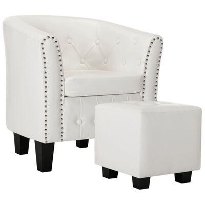 vidaXL Sessel mit Fußhocker Weiß Kunstleder