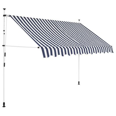 vidaXL Einziehbare Markise Handbetrieben 300 cm Blau/Weiß Gestreift