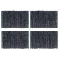 vidaXL Tischsets 4 Stk. Chindi Uni Anthrazit 30 x 45 cm Baumwolle