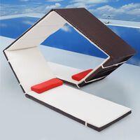 vidaXL Sonnenliege im Diamant-Design Poly Rattan Braun