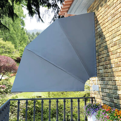 vidaXL Faltbarer Balkonfächer Grau 210×210 cm