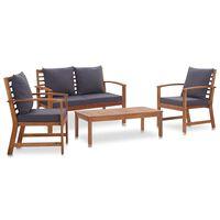 vidaXL Garten-Lounge-Set mit Auflagen 4-tlg. Massivholz Akazie