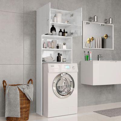vidaXL Waschmaschinenschrank Hochglanz-Weiß 64×25,5×190 cm Spanplatte