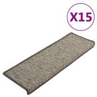 vidaXL Treppenmatten Selbstklebend 15 Stk. 65x25 cm Grau und Beige