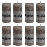 Bolsius Rustikale Stumpenkerzen 8 Stk. 100 x 50 mm Taupe