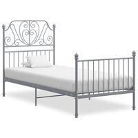 vidaXL Bed Frame Grey Metal and Plywood 90x200 cm