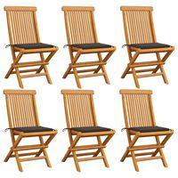 vidaXL Gartenstühle mit Taupe Kissen 6 Stk. Massivholz Teak