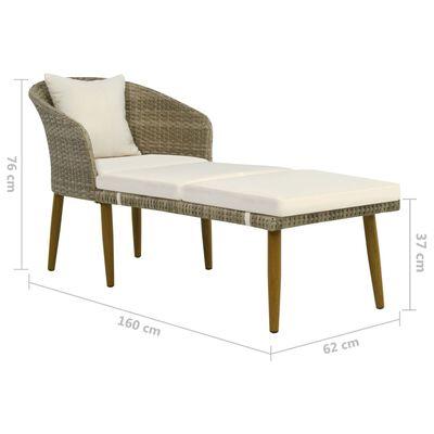 vidaXL Garten-Chaiselongue Grau/Beige Poly Rattan