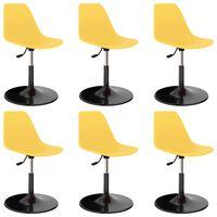 vidaXL Drehbare Esszimmerstühle 6 Stk. Gelb PP