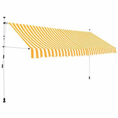 vidaXL Einziehbare Markise Handbetrieben 350 cm Gelb/Weiß Gestreift