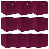 vidaXL Aufbewahrungsboxen 10 Stk. Dunkelrot 32×32×32 cm Stoff