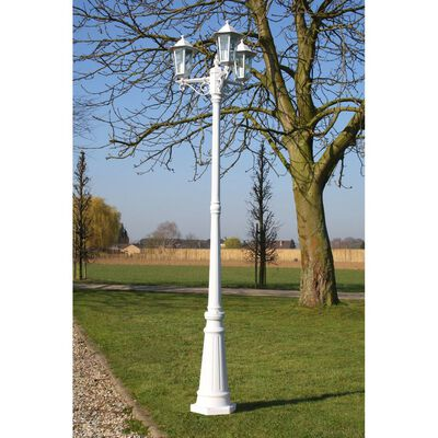 vidaXL Gartenlaterne 3-flammig 215 cm Weiß Aluminium