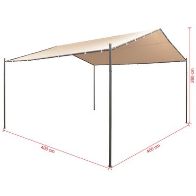 vidaXL Pavilion Partyzelt Überdachung 4x4 m Stahl Beige