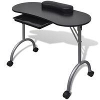 Klappbarer Maniküre-Tisch mit Rollen Schwarz
