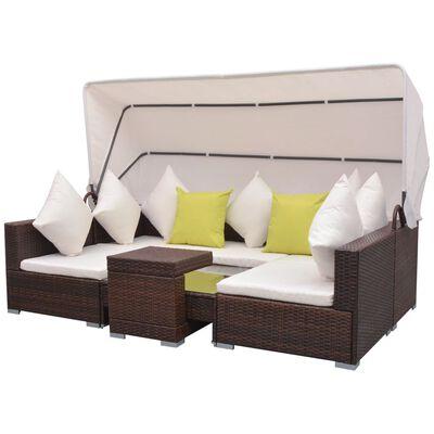 vidaXL 7-tlg. Garten-Lounge-Set mit Sonnendach Poly Rattan Braun
