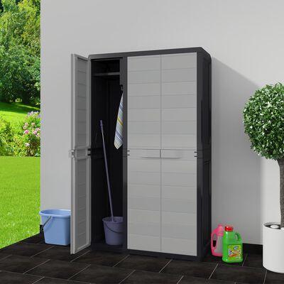 vidaXL Gartenschrank mit 4 Regalen Schwarz und Grau