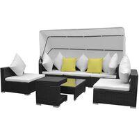 vidaXL 7-tlg. Garten-Lounge-Set mit Sonnendach Poly Rattan Schwarz