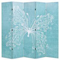 vidaXL Raumteiler klappbar 200 x 170 cm Schmetterling Blau