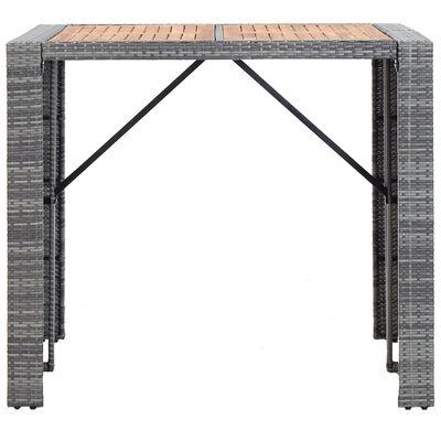 vidaXL 5-tlg. Garten-Bar-Set Poly Rattan und Akazienholz Grau