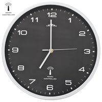 vidaXL Funkwanduhr mit Quarzwerk 31 cm Schwarz