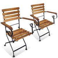 vidaXL Klappbare Gartenstühle 2 Stk. Stahl und Massivholz Akazie
