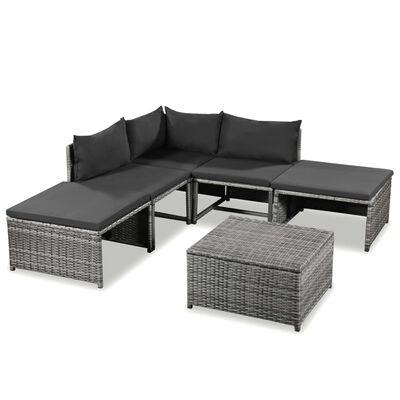 vidaXL 6-tlg. Garten-Lounge-Set mit Auflagen Poly Rattan Grau