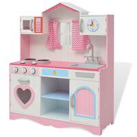 vidaXL Spielzeugküche Holz 82×30×100 cm Rosa und Weiß