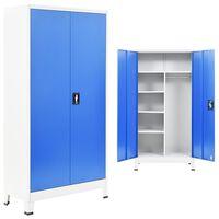 vidaXL Schließfachschrank 2 Türen Metall 90x40x180 cm Grau und Blau