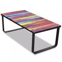 vidaXL Couchtisch mit Regenbogen-Motiv Glasplatte