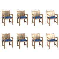 vidaXL Gartenstühle 8 Stk. mit Königsblauen Kissen Teak Massivholz