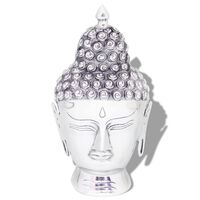 vidaXL Buddha Kopf Dekoration Aluminium Silbern