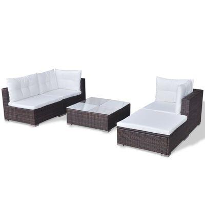 vidaXL 5-tlg. Garten-Lounge-Set mit Auflagen Poly Rattan Braun