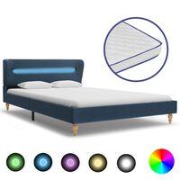vidaXL Bett mit LED und Memory-Schaum-Matratze Blau Stoff 120×200 cm