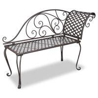 vidaXL Garten-Chaiselongue 128 cm Stahl Antik Braun