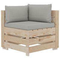 vidaXL Garten-Paletten-Ecksofa mit Taupe-Auflagen Holz