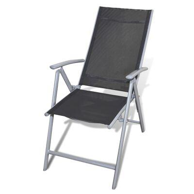 vidaXL Klappbare Gartenstühle 3 Stk. Aluminium Schwarz