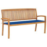 vidaXL Stapelbare Gartenbank mit Auflage 159 cm Massivholz Teak